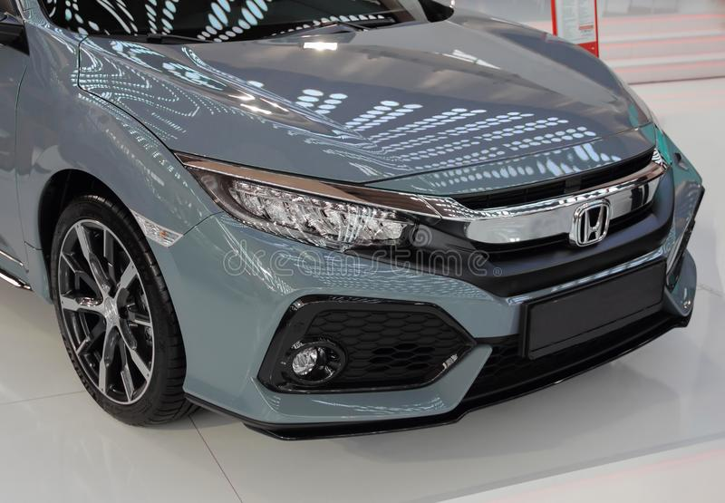 Serbia; Belgrade; April 2, 2017; front side of gray Honda Civic; The 53rd International Motor Show in Belgrade from March 24th to royalty free stock photography