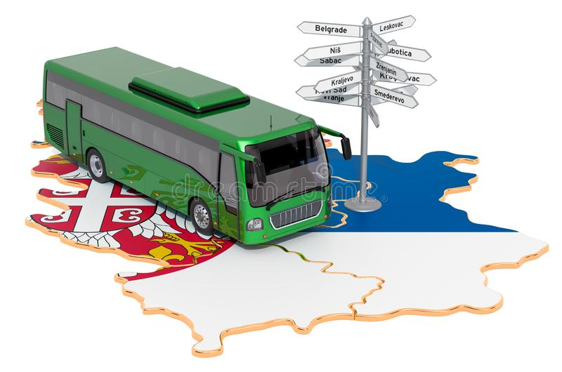 Serbia Bus Tours concept. 3D rendering. Isolated on white background stock illustration