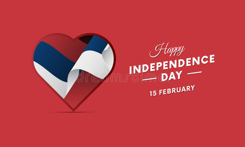 Serbia dzień niepodległości 15 Luty Machać flaga w sercu wektor ilustracja wektor