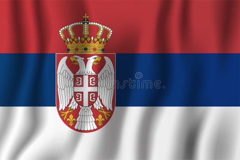 Serbia falowania flaga wektoru realistyczna ilustracja Krajowy kraju tła symbol tła dzień grunge niezależność retro royalty ilustracja