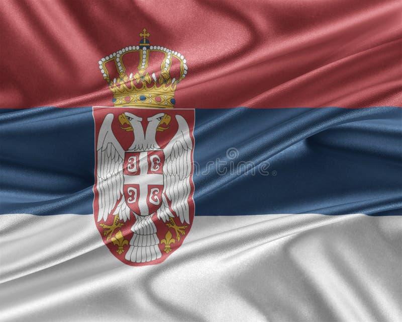 Serbia flaga z glansowaną jedwabniczą teksturą ilustracji