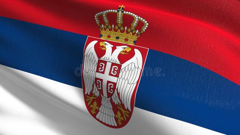 Serbia flagi państowowej dmuchanie w wiatrze odizolowywającym Oficjalny patriotyczny abstrakcjonistyczny projekt 3D renderingu il ilustracji