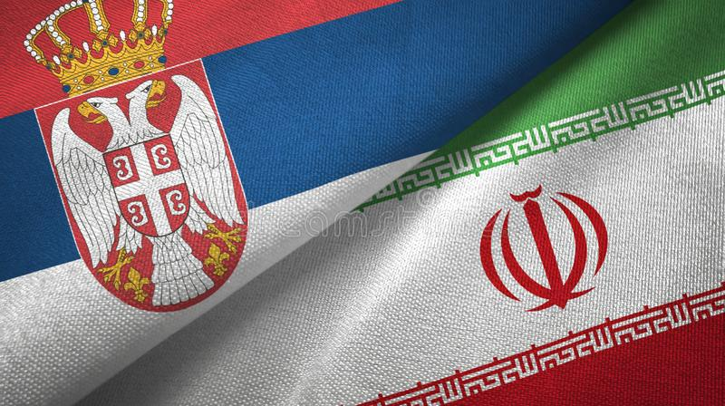 Serbia i Iran dwa flagi tekstylny płótno, tkaniny tekstura ilustracji