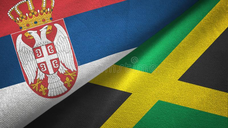 Serbia and Jamaica two flags textile cloth, fabric texture vector illustration