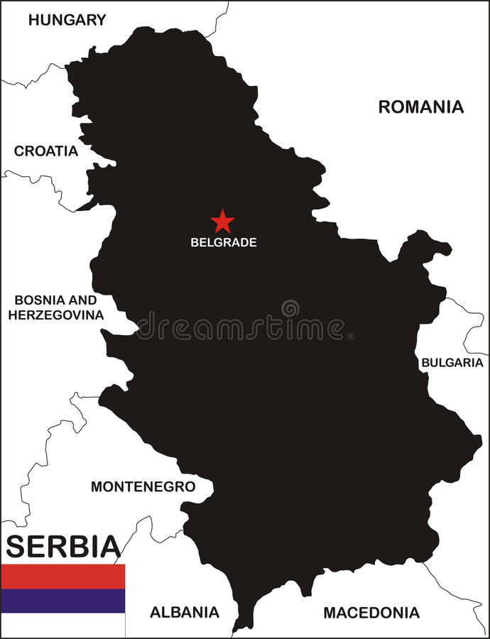 Serbia map. Political map of serbia country with neighbors and national flag royalty free illustration