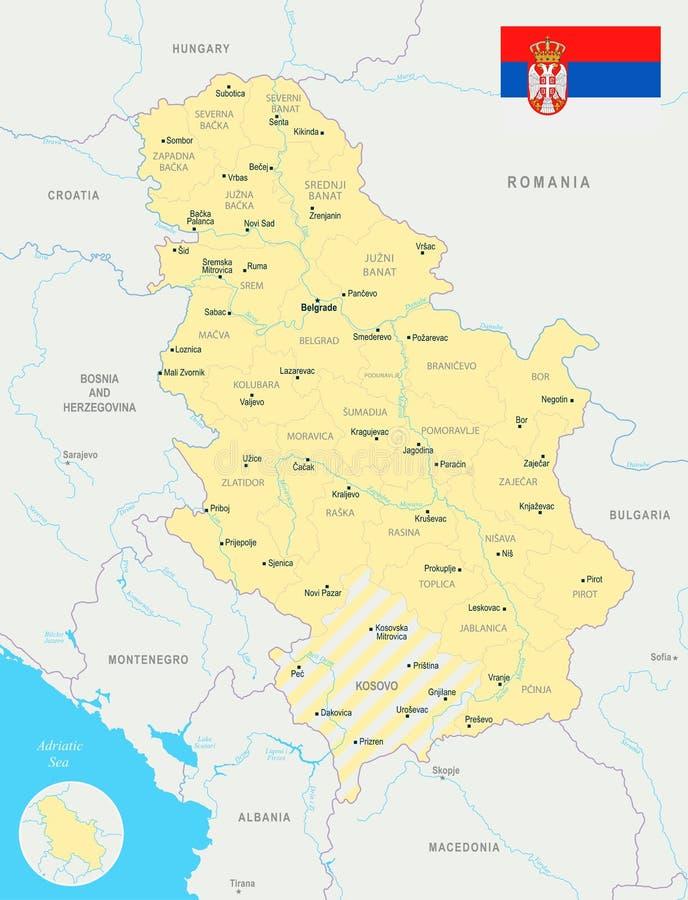 Serbia Map Detailed Vector Illustration Stock Illustration