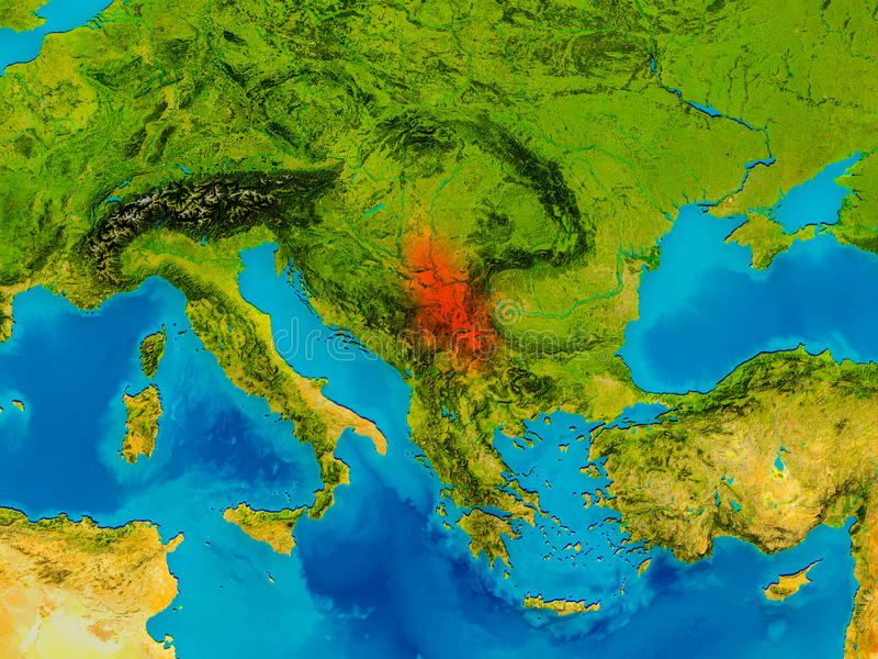 Serbia on physical map stock illustration Illustration of