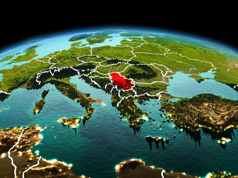 Serbia on planet Earth in space. Morning above Serbia highlighted in red on model of planet Earth in space with visible border lines and city lights. 3D royalty free stock images