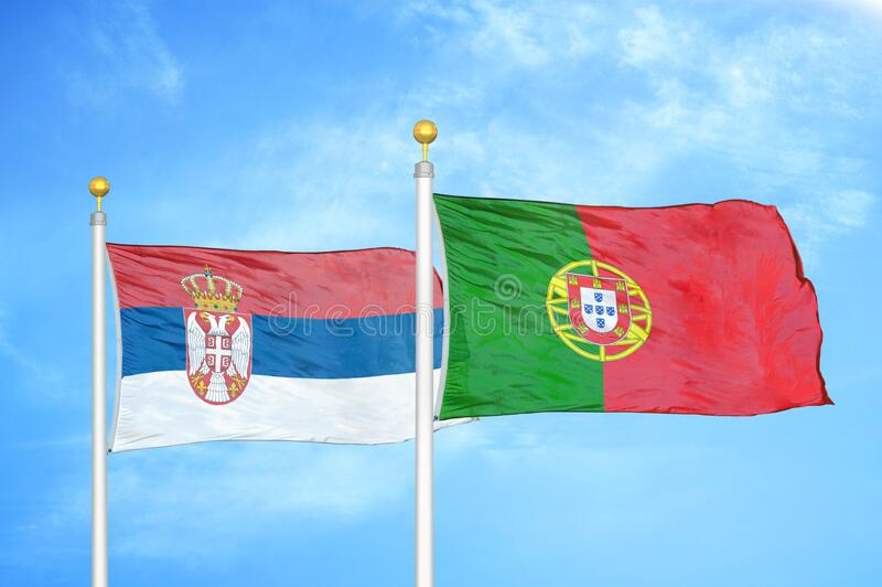 Serbia Vs Portugal, Portuguese Smoke Flags Placed Side By Side. Stock Image - Image of conflict, cloud: 127798569