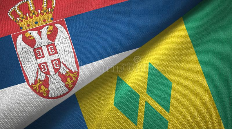 Serbia and Saint Vincent and the Grenadines two flags textile cloth vector illustration