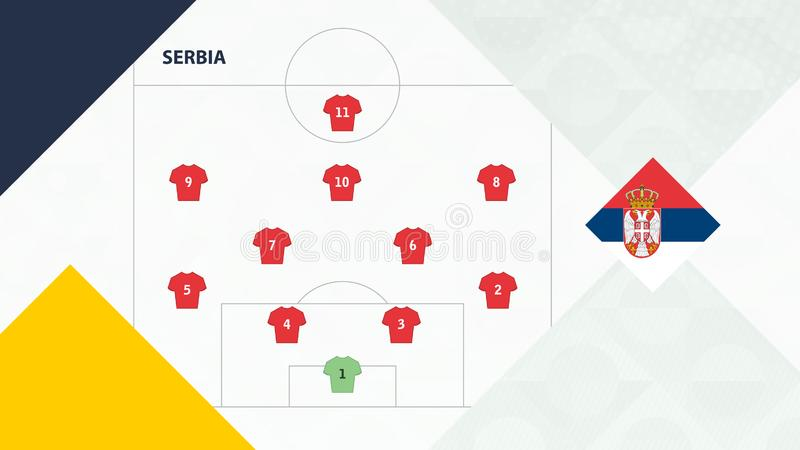 Serbia team preferred system formation 4-2-3-1, Serbia football team background for European soccer competition.  vector illustration