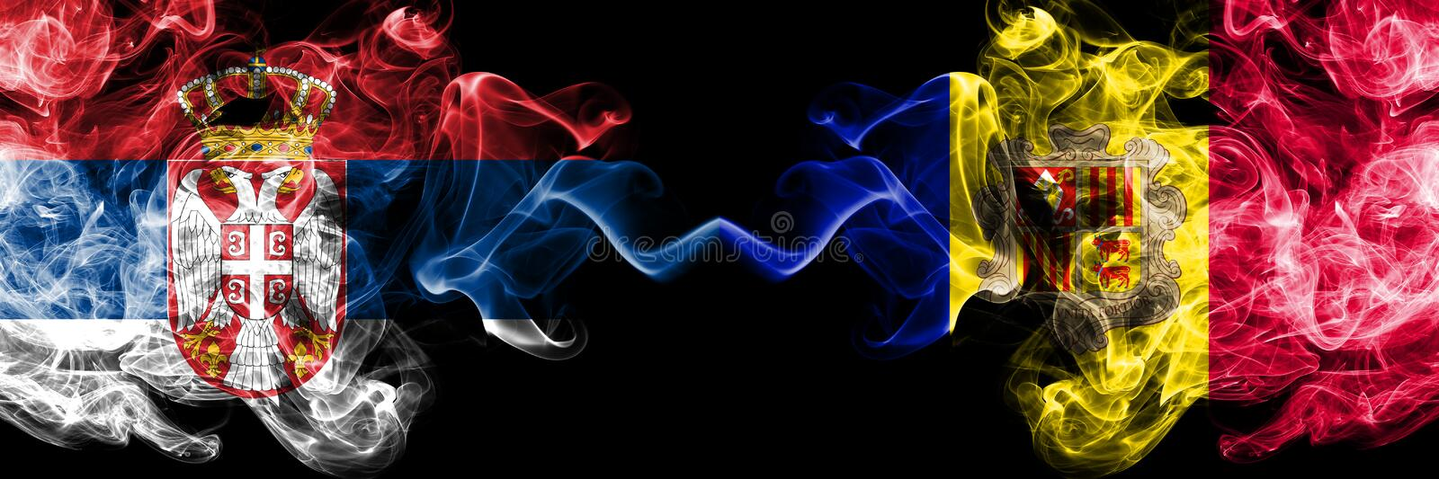 Serbia vs Andorra, Andorran smoky mystic flags placed side by side. Thick colored silky smokes combination of Serbian and Andorra. Andorran flag royalty free illustration