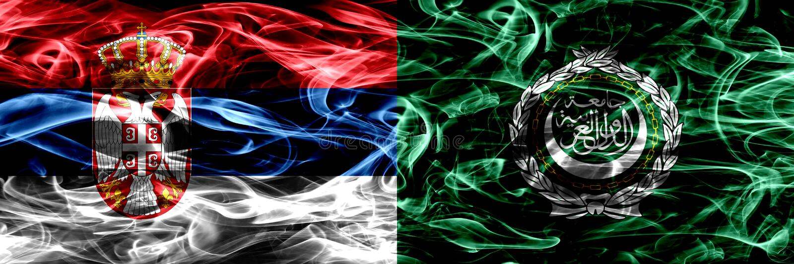 Serbia vs Arab League smoke flags placed side by side. Thick col royalty free stock photography