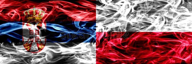 Serbia vs Polska, połysku dymu flaga umieszczająca strona strona - obok - gęsty obrazy stock