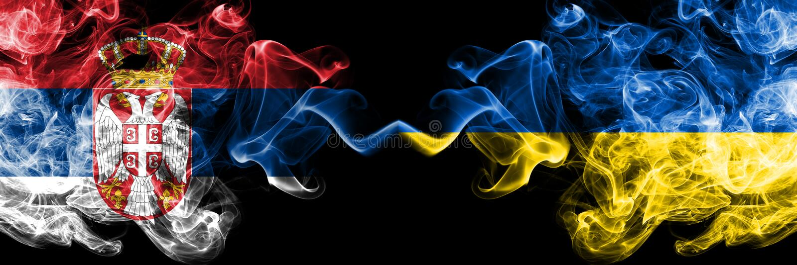 Serbia vs Ukraine, Ukrainian smoky mystic flags placed side by side. Thick colored silky smokes combination of Serbian and Ukraine. Ukrainian flag stock illustration