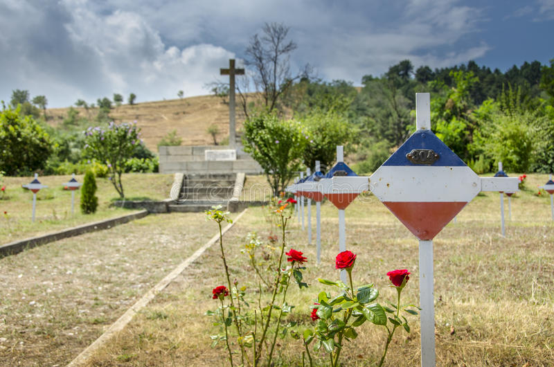 Serbian Cemetery - First World War and Balkan Wars. Cemetery in Bitola stock images
