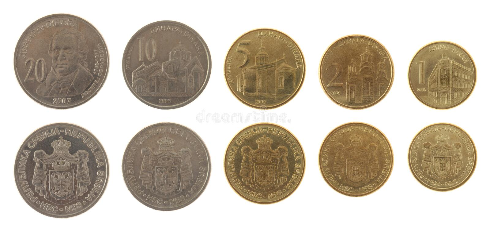 Serbian Coins Isolated on White. Serbian dinar coins isolated on white stock images