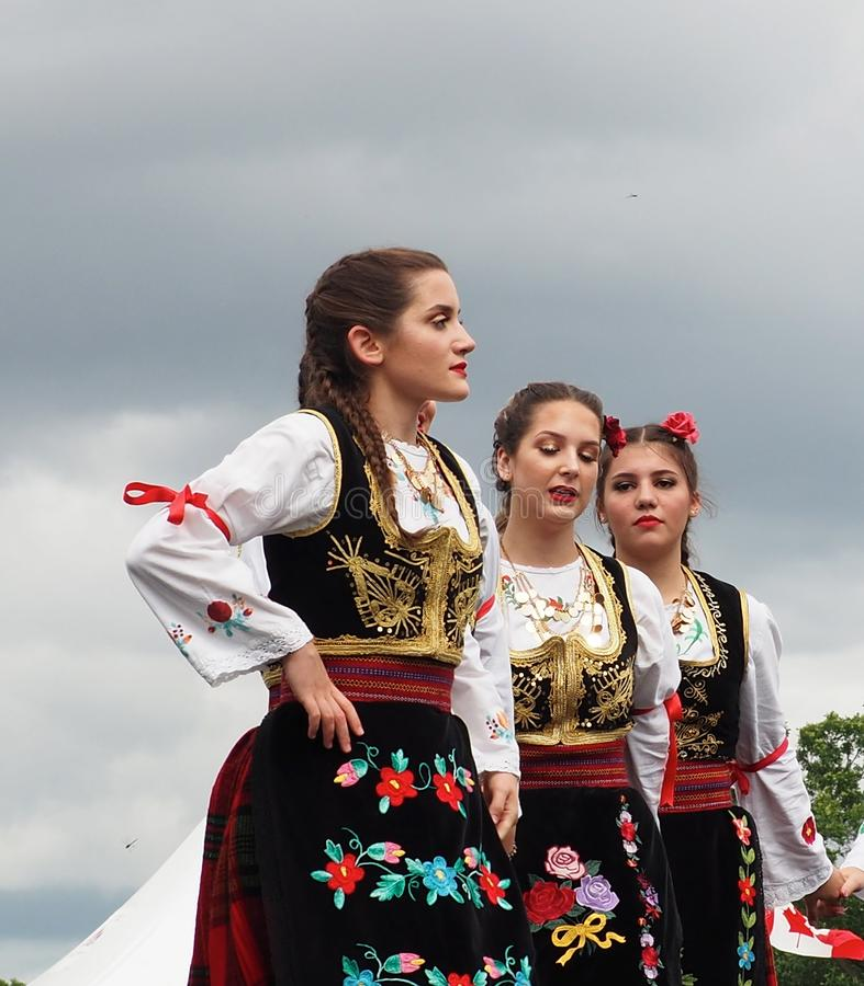 Serbian Folk Dancers At Edmonton`s Heritage Days stock images