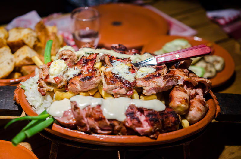 Serbian food. Plate with grilled serbian food stock image