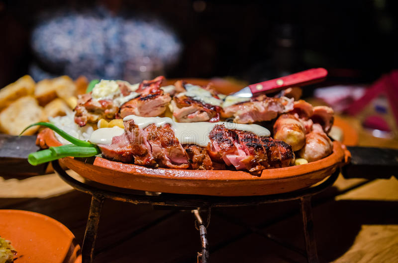 Serbian food. Plate with grilled serbian food stock photos