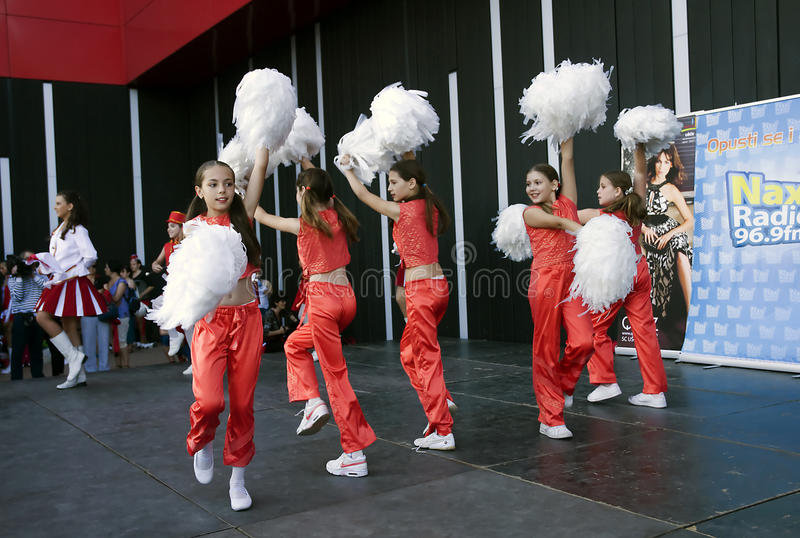 Serbian majorettes dance royalty free stock photography