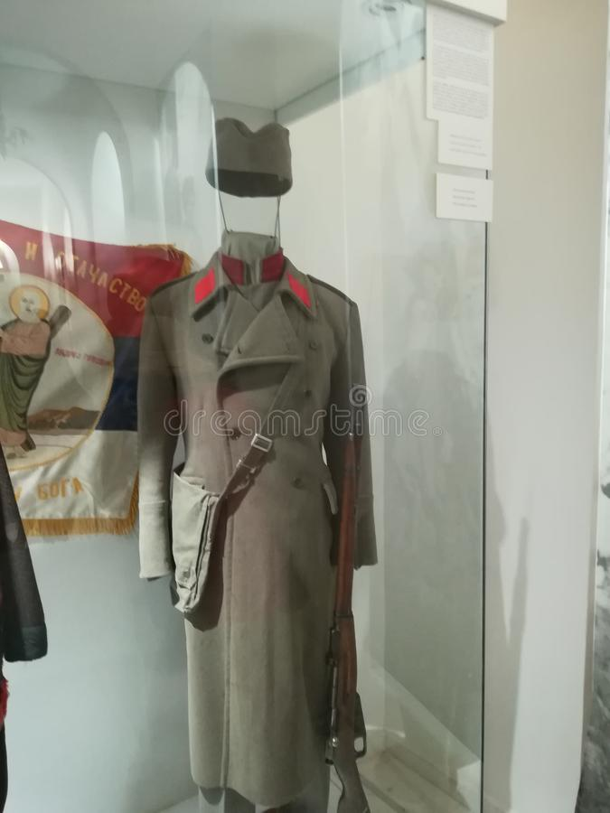 Serbian officer uniform from WWI. Coat, belt, bag and hat. Hat is called `sajkaca stock photo
