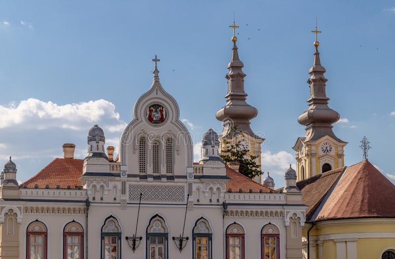 Serbian-Orthodox Episcopal Palace Building Façade. The Serbian-Orthodox Episcopal Palace is one of the most beautiful and famous buildings in Timisoara stock photography
