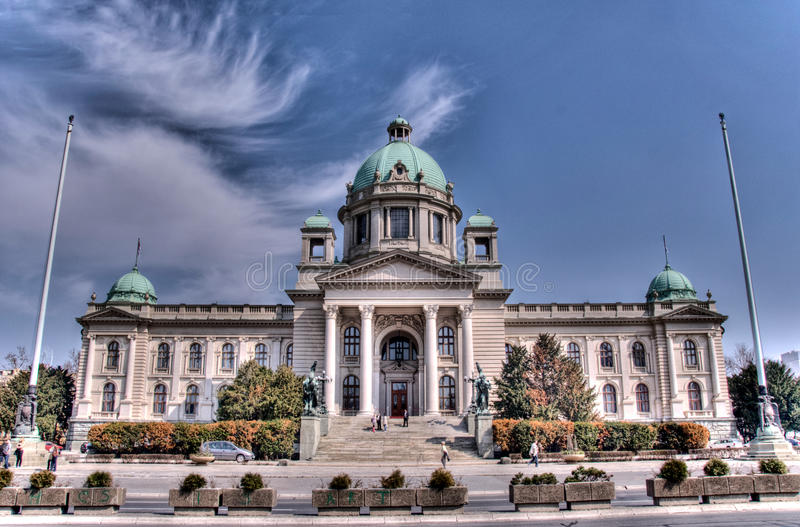 Serbian parliament. Belgrade in HDR technique royalty free stock photos