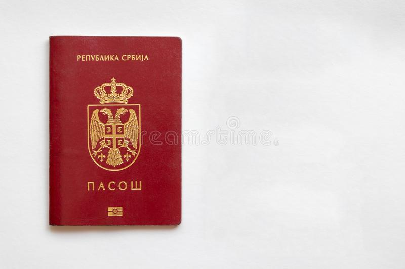 Serbian passport isolated on left side on white paper background. Serbia stock images