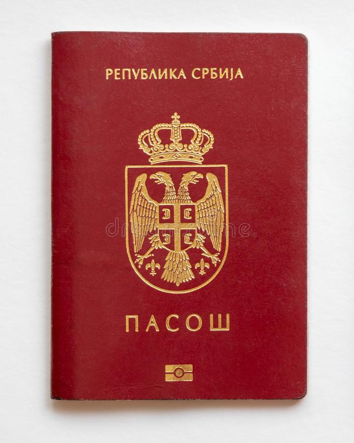 Serbian passport isolated on white paper background. Serbia stock image