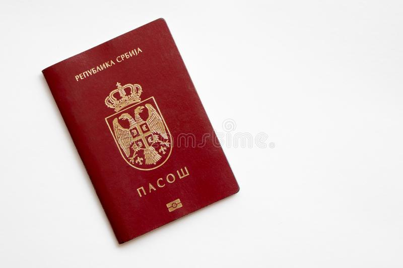 Serbian passport on white background. With EAGLE & CROWN royalty free stock photo