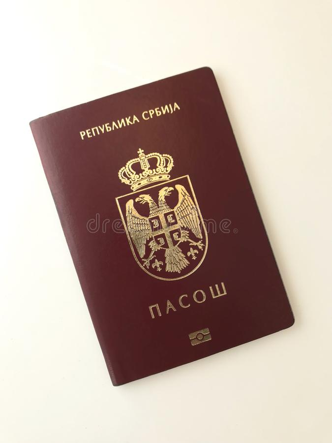 One Serbian Passport. Serbian Passport on the white background royalty free stock photos