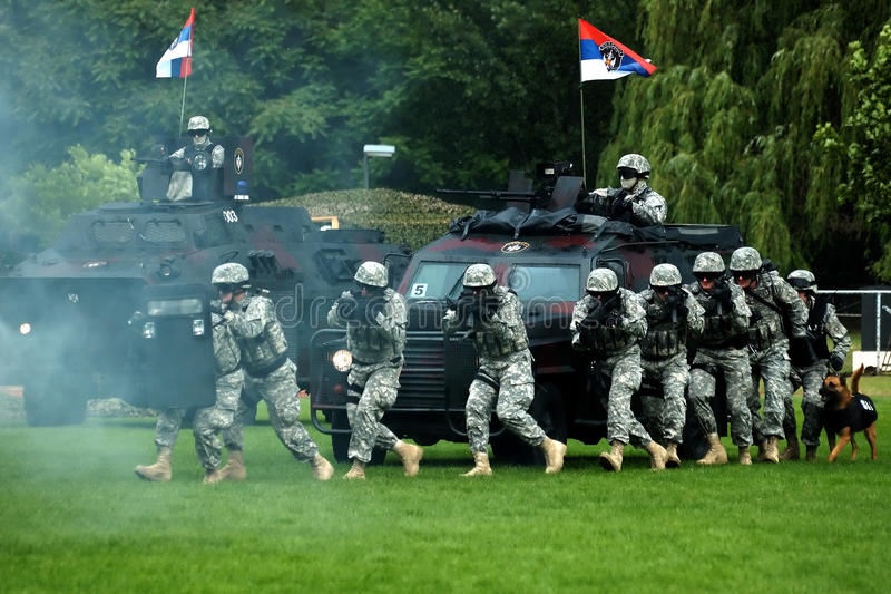 Serbian police force in action royalty free stock images