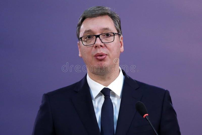 Serbian President Aleksandar Vucic. Belgrade, Serbia - 9 December 2017: Serbian President Aleksandar Vucic talks to the media at a press conference during the royalty free stock image