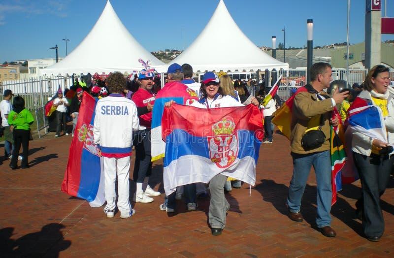 Serbian soccer fans stock images