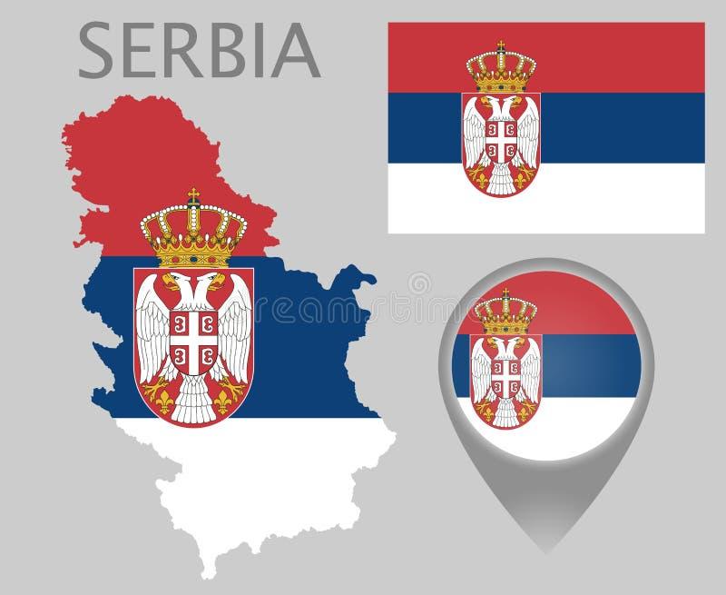Serbien flagga, översikt och översiktspekare royaltyfri illustrationer