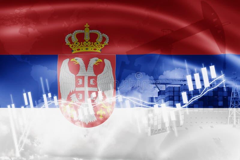 Serbien flagga, aktiemarknad, utbytesekonomi och handel, oljeproduktion, behållareskepp i export och importaffär och logistik stock illustrationer