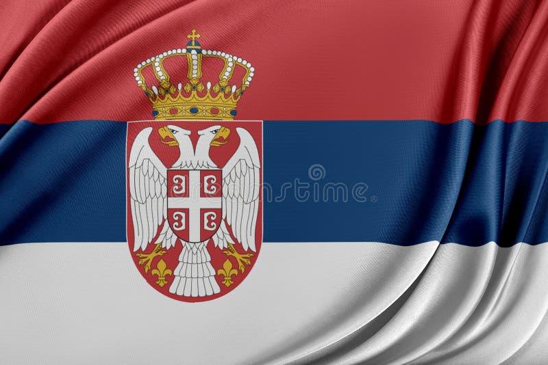 Serbien flagga med en glansig siden- textur vektor illustrationer