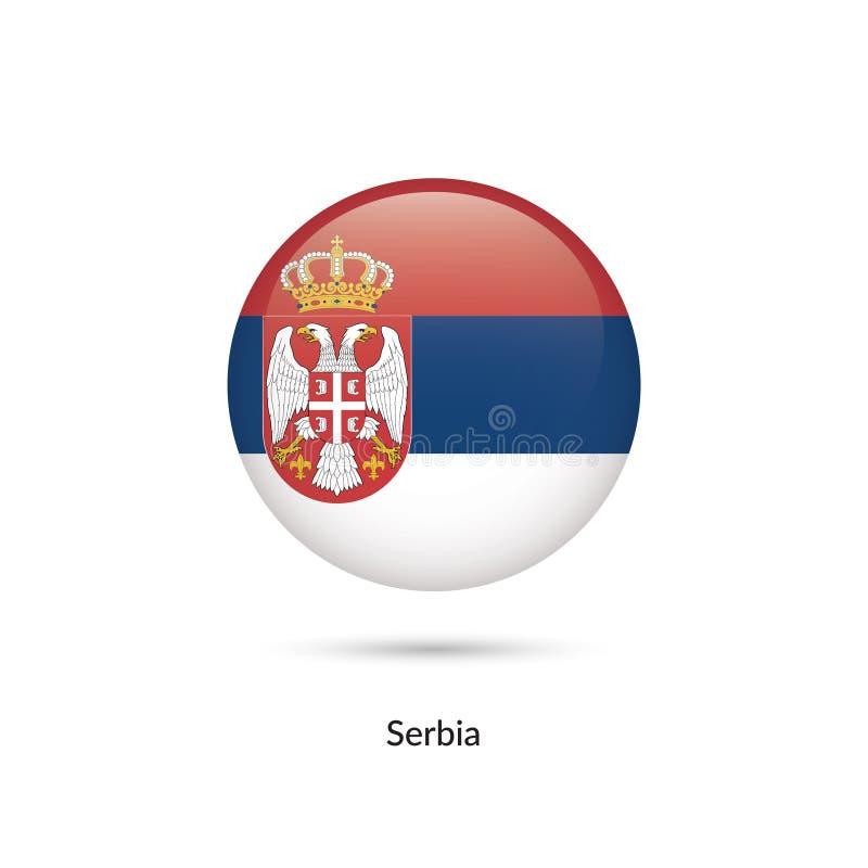 Serbien flagga - rund glansig knapp vektor illustrationer