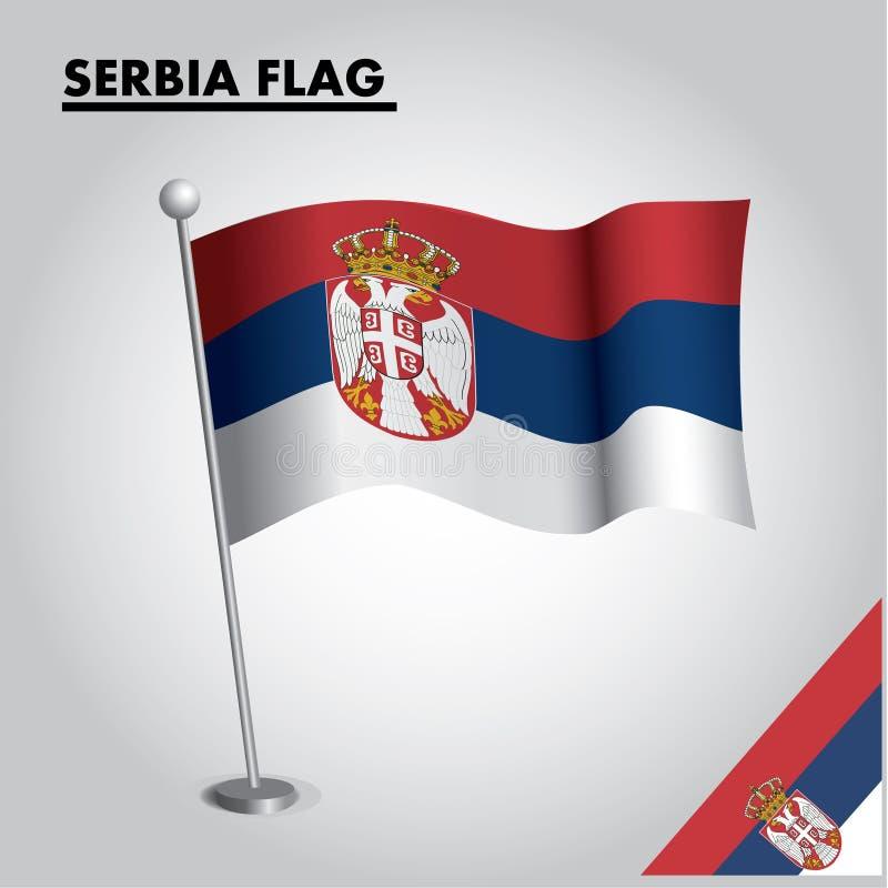 SERBIEN flagganationsflagga av SERBIEN på en pol vektor illustrationer