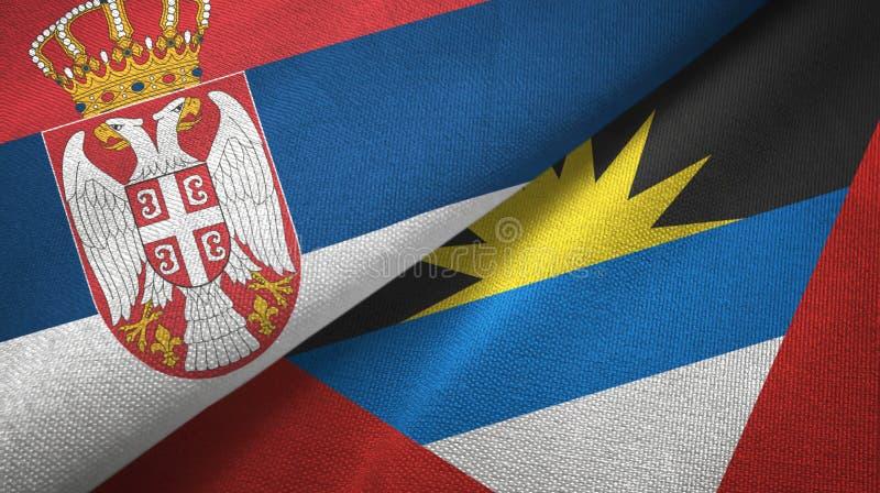 Serbien- und Antigua und Barbuda-zwei Flaggentextilstoff, Gewebebeschaffenheit lizenzfreie abbildung