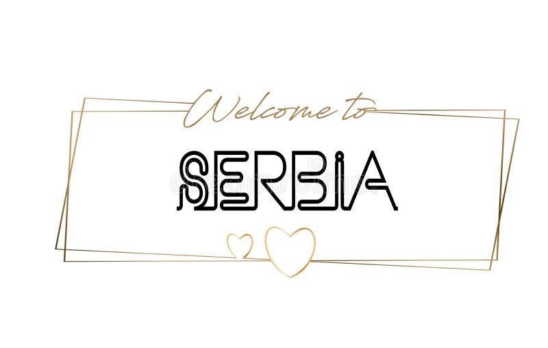 Serbien välkomnande som smsar neon som märker typografi Ord för logotypen, emblem, symbol, vykort, logo, banervektorillustration stock illustrationer