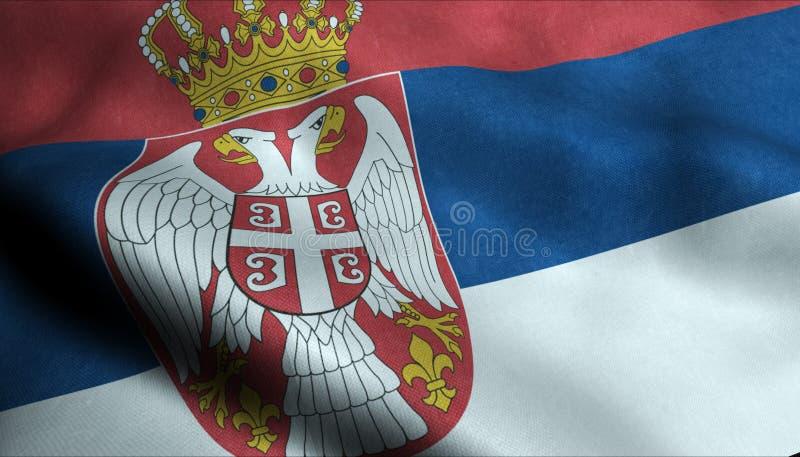 Serbien vinkande flagga i 3D vektor illustrationer