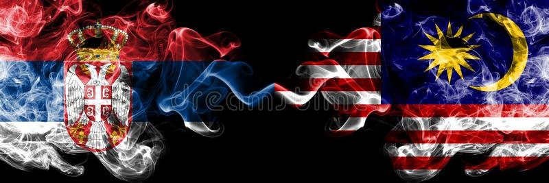 Serbien vs Malaysia, malaysiska rökiga mystikerflaggor förlade sidan - vid - sidan Tjockt kulört silkeslent röker kombination av  vektor illustrationer