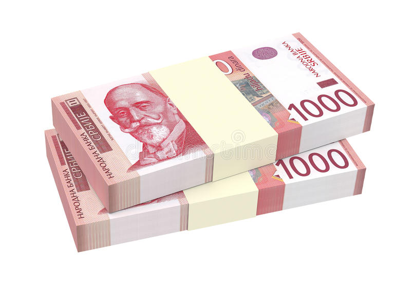 Serbisk dinar som isoleras på vit bakgrund vektor illustrationer
