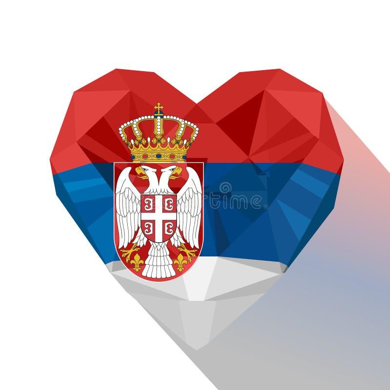 Serbisk hjärta för vektor, flagga av republiken av Serbien royaltyfri illustrationer