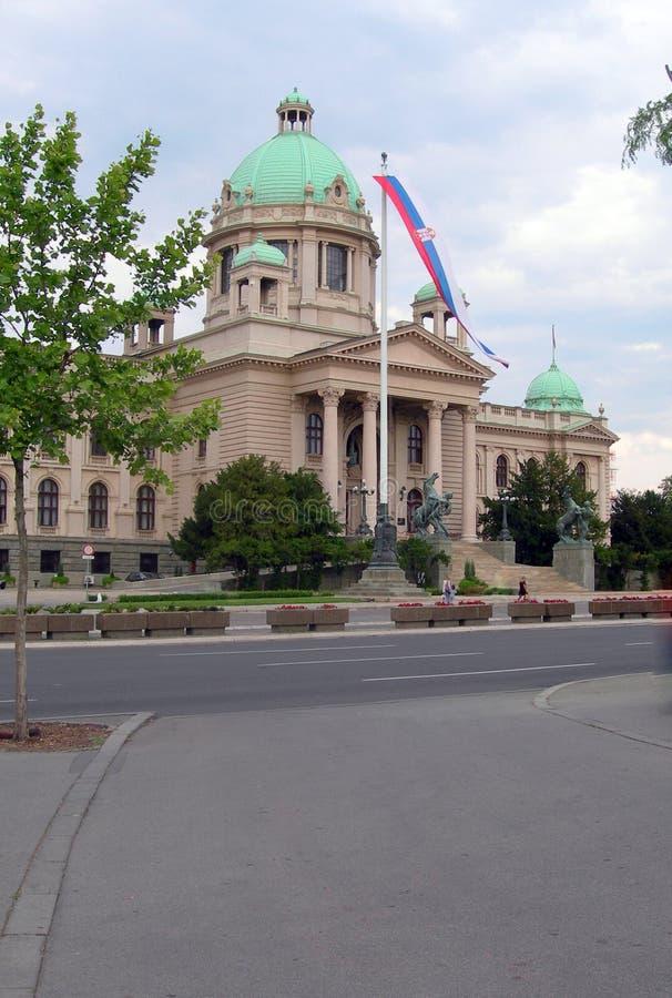 Serbisk parlament som bygger Belgrade Serbien Europa royaltyfria bilder