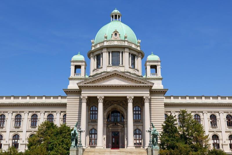 Serbisk parlamentbyggnad, Belgrade, Serbien royaltyfri bild