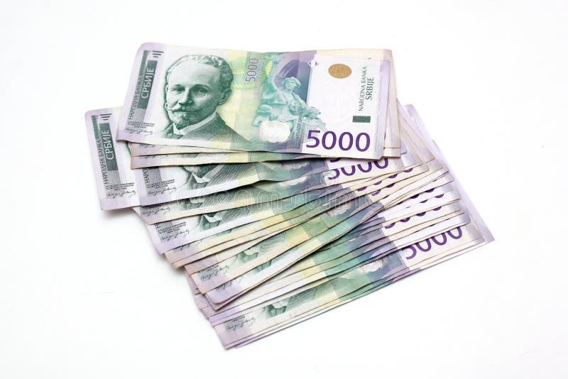 Serbisk valuta - en hög av 5000 dinar sedlar arkivbilder