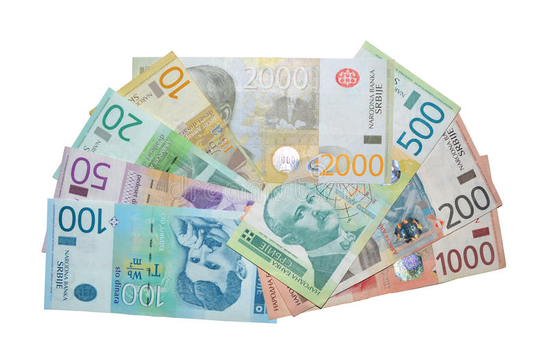Serbiska dinarsedlar arkivbild